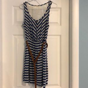 NWOT blue and beige striped dress with belt